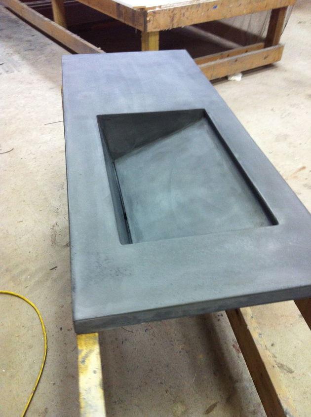 concrete bath vanity with integral sink, bathroom ideas, concrete masonry