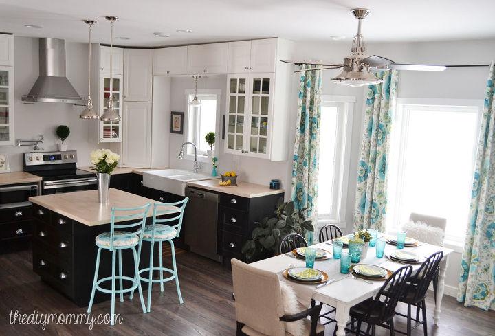 kitchen design ideas industrial vintage colorful makeover, home decor, kitchen design