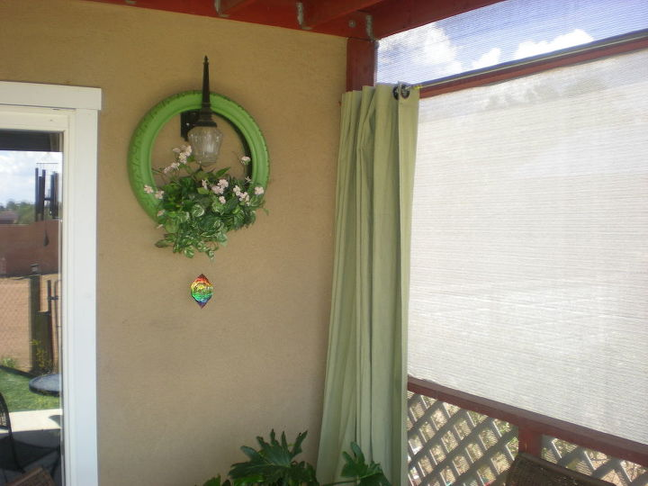 outdoor projects, gardening, home decor, patio, window treatments, Curtains for my patio made from drop cloth canvas and dyed green apple green Notice the tire planter too