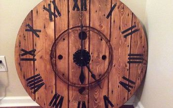 diy large cable spool wall clock, diy, repurposing upcycling, wall decor