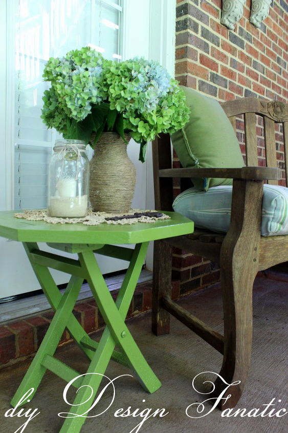 newly painted side table on the basement patio
