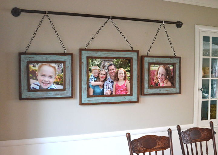 Iron pipe family photo display dining room ideas home decor repurposing upcycling