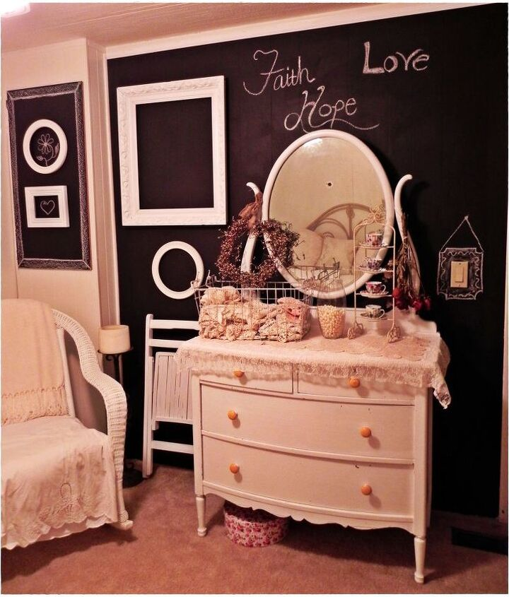 Chalk Board wall, with white frame accents
