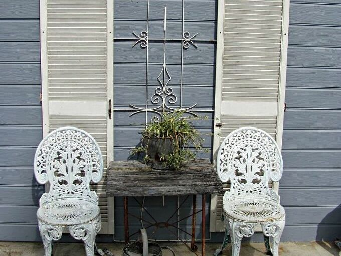 decorating with shutters, curb appeal, doors, home decor, French cafe look at back of house