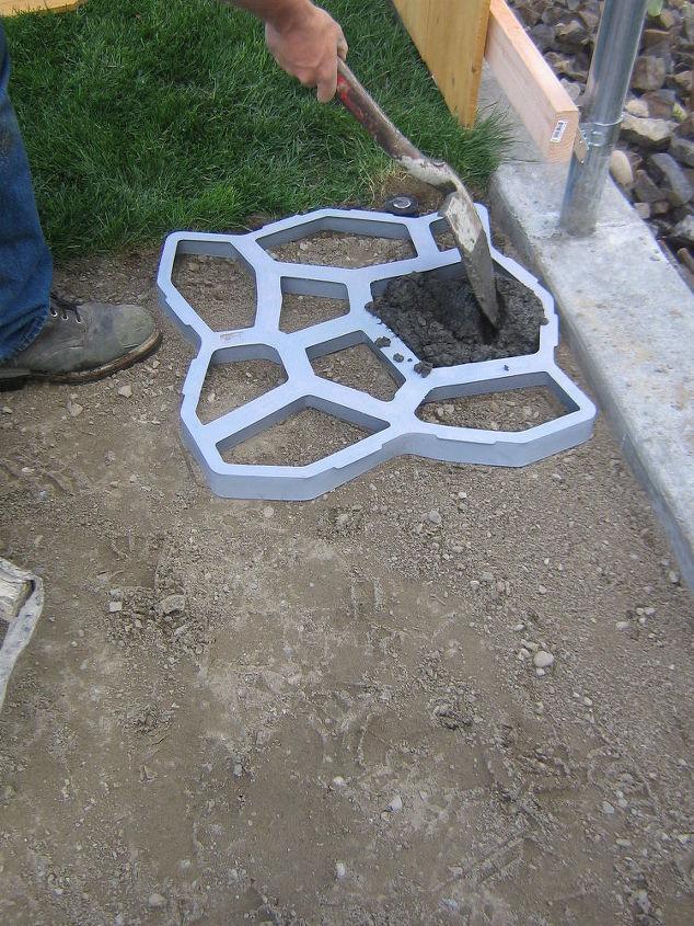 concrete cobblestone path, concrete masonry, outdoor living, patio
