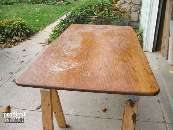 how to whitewash or limewash wood farmhouse table makeover, painted furniture