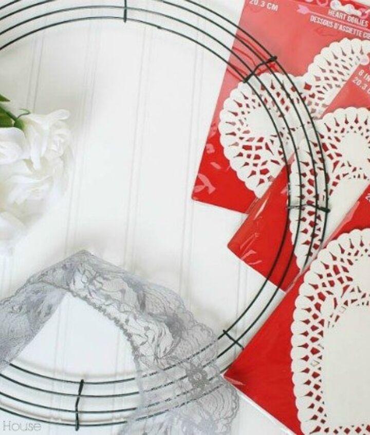 valentine heart doily wreath, crafts, seasonal holiday decor, valentines day ideas, wreaths