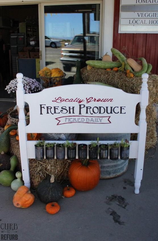 painted headboard sign with planters, container gardening, diy, gardening, outdoor furniture, repurposing upcycling