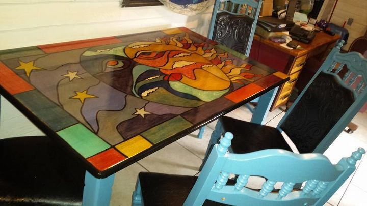 stained glass dining unicornspit, painted furniture