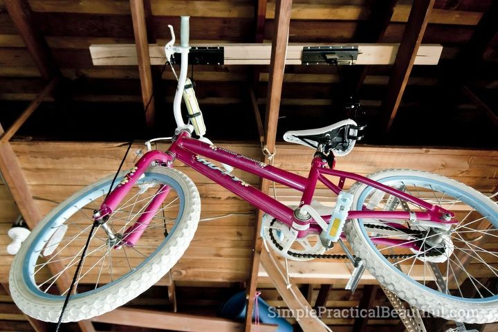 how to install a bicycle lift, diy, garages, how to, storage ideas, woodworking projects