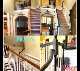 Refinishing Staircase Banisters A Complete Makeover, Home Improvement,  Stairs, Before After