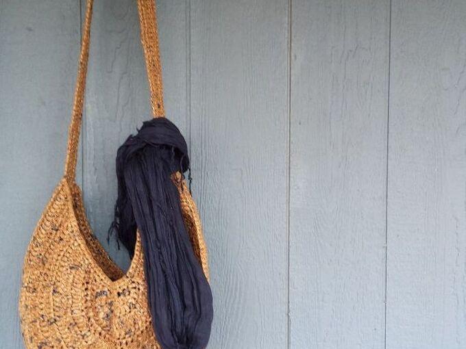 repurposed plastic bags to diy tote bag, crafts, how to, repurposing upcycling, Plarn crossbody sling bag