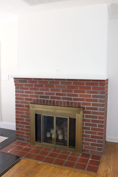 Painting Our Red Brick Fireplace White Diy Fireplaces Mantels Living Room Ideas