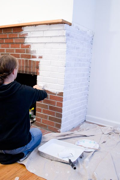 painted white brick fireplacePainting Our Red Brick Fireplace White  Hometalk