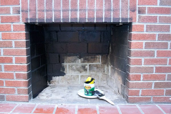 Spray Painting Inside Of Fireplace
