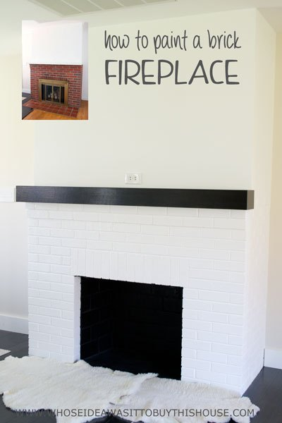 painting a fireplace whitePainting Our Red Brick Fireplace White  Hometalk
