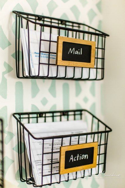 DIY Industrial Wire Mail Baskets (from a $5 Cleaning Caddy ...