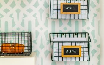 DIY Industrial Wire Mail Baskets (from a $5 Cleaning Caddy!)