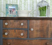 painted and stained antique oak dresser, painted furniture