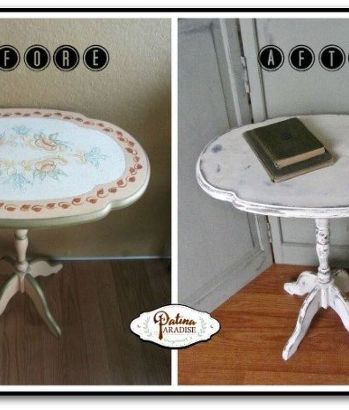 tilt top table gets antique finish in white, chalk paint, painted furniture, repurposing upcycling, shabby chic