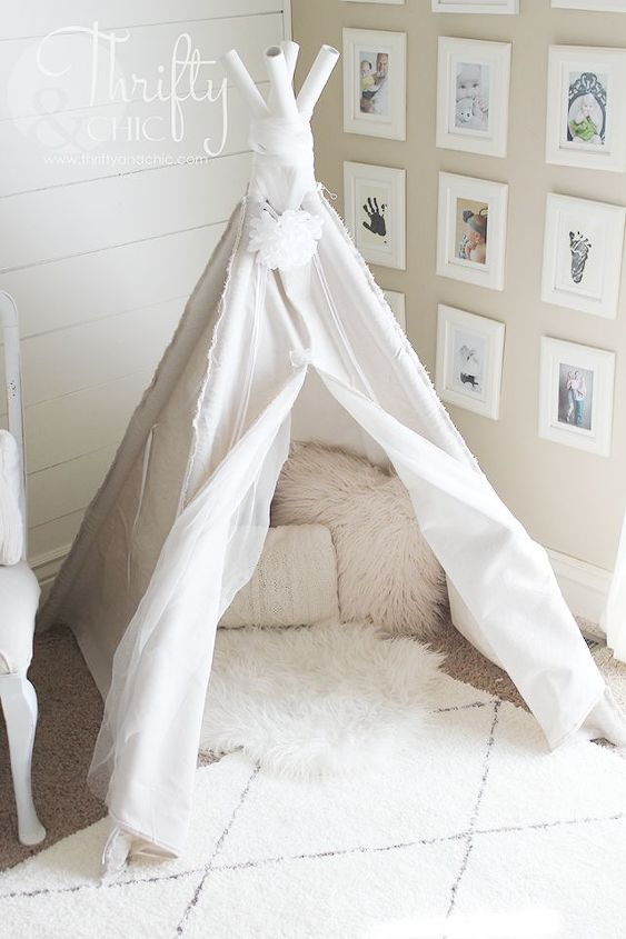 diy 4 sided drop cloth teepee, diy, entertainment rec rooms, home decor, how to, repurposing upcycling