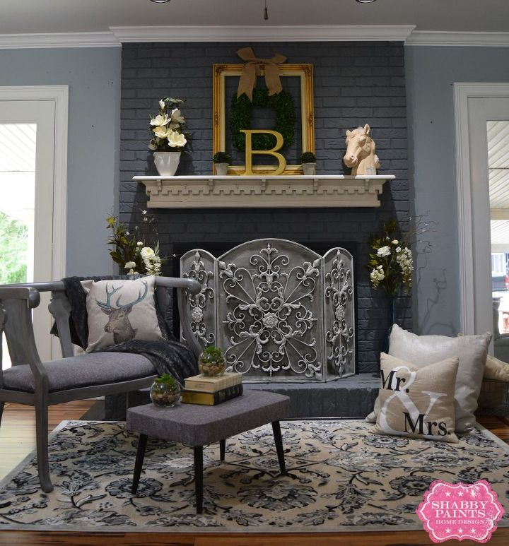 Painted Brick Fireplace-Farmhouse Inspiration | Hometalk