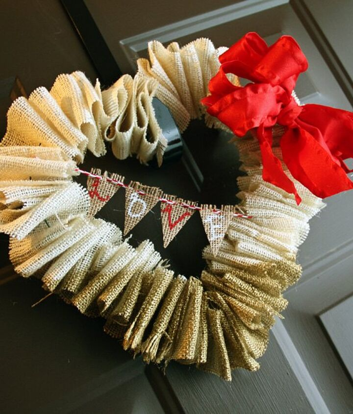 gold dipped burlap valentine s wreath with mini bunting, crafts, seasonal holiday decor, valentines day ideas, wreaths
