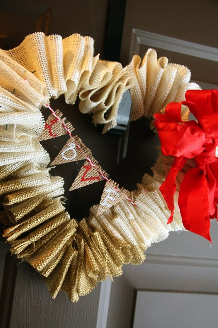 valentine wreath ideas gold dipped burlap valentines wreath with mini bunting hometalk