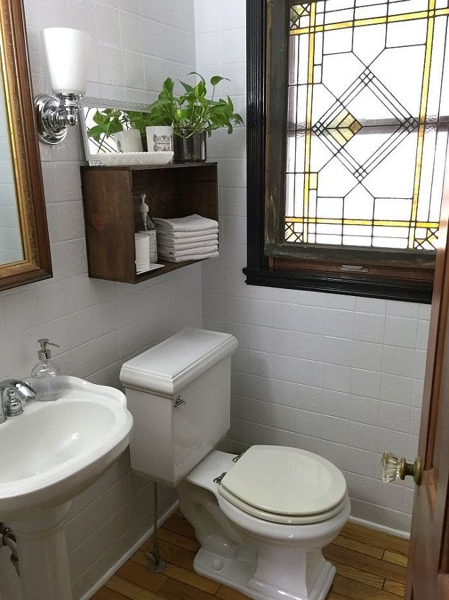 Updating the powder room with painted tile hometalk for Updating bathroom ideas