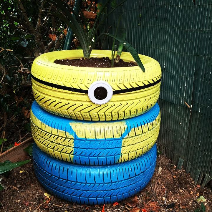 How to reuse old tyres making a minion planter hometalk for What can you make out of old tires
