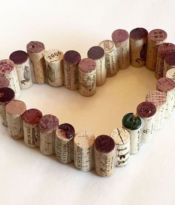 wine cork hearts, crafts, how to, repurposing upcycling, seasonal holiday decor, valentines day ideas