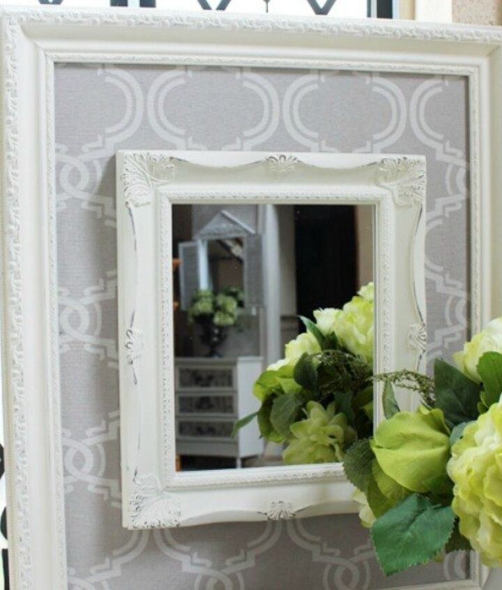 s 23 awesome things you didn t know you could do with old picture frames, crafts, repurposing upcycling, Add an elegant fabric frame to boring mirrors