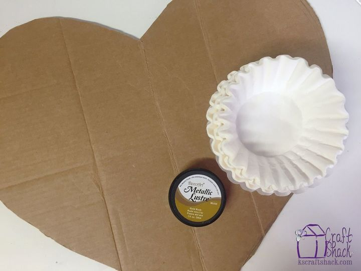 gilded coffee filter valentines heart, crafts, seasonal holiday decor, valentines day ideas, wall decor