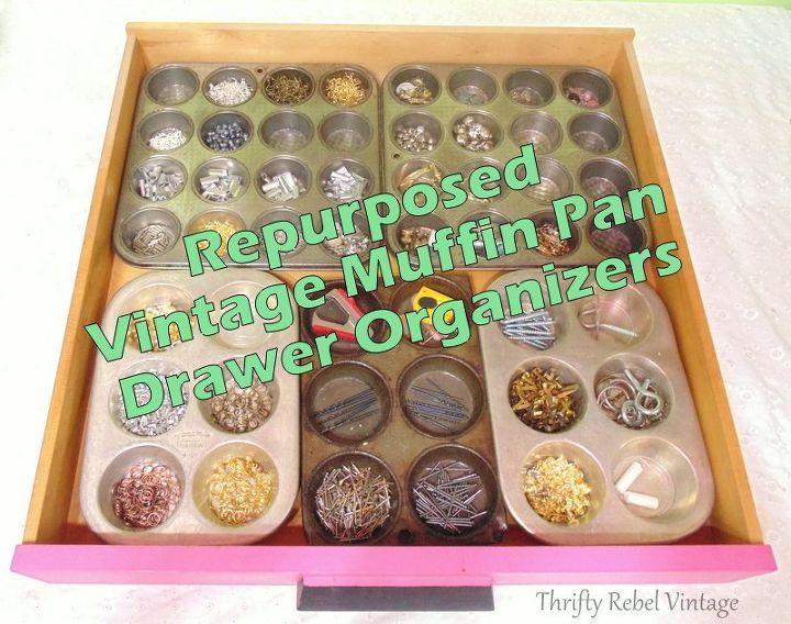 repurposed muffin pan drawer organizers, craft rooms, organizing, repurposing upcycling, storage ideas