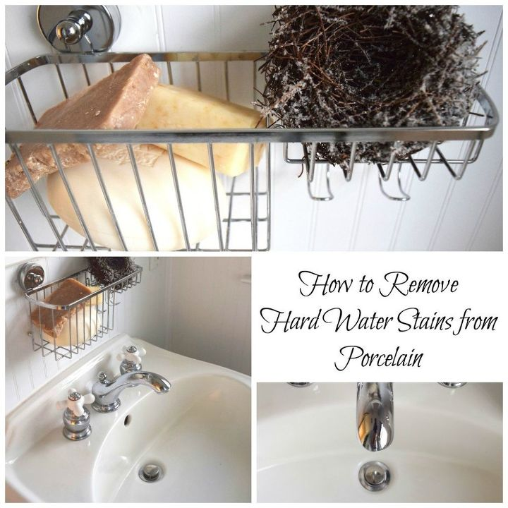 how to remove hard water stains from a porcelain sink, bathroom ideas, cleaning tips, home maintenance repairs, how to