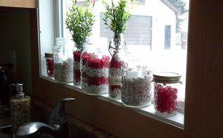 red and white valentine jars using fish tank gravel, crafts, seasonal holiday decor, valentines day ideas