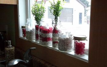 red and white valentine jars using fish tank gravel, crafts, seasonal holiday decor, valentines day ideas