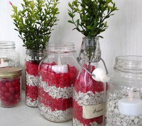 red and white valentine jars using fish tank gravel crafts seasonal holiday decor