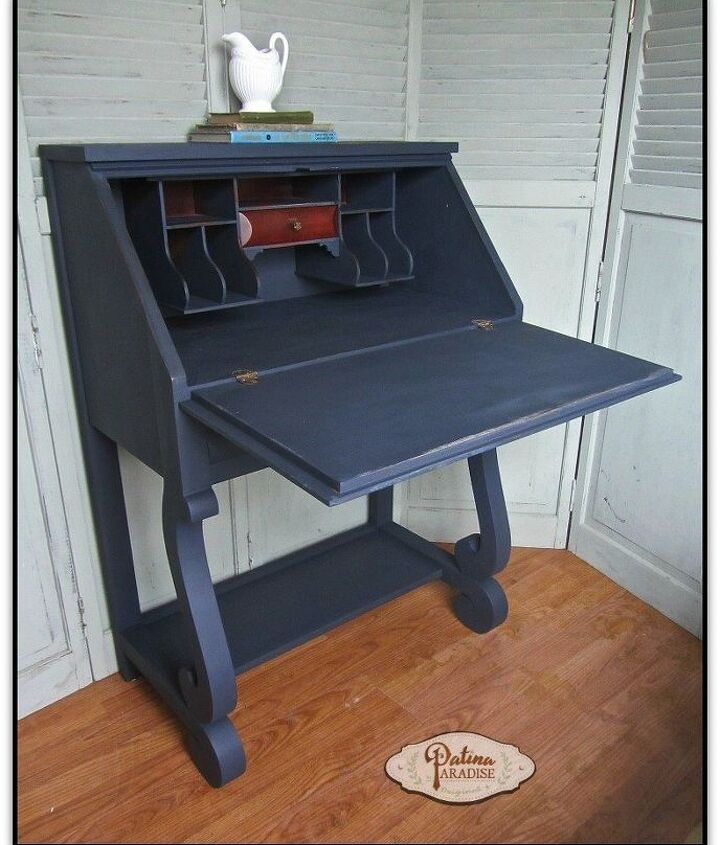 empire desk in midnight blue it s my furniture and i ll paint iif i, chalk paint, painted furniture