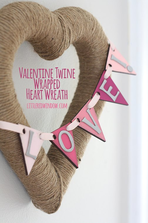 valentine twine wrapped wreath, crafts, seasonal holiday decor, valentines day ideas, wreaths