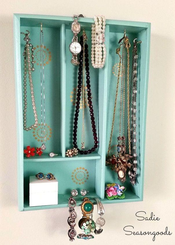 silverware tray turned jewelry display, crafts, organizing, repurposing upcycling, storage ideas, wall decor