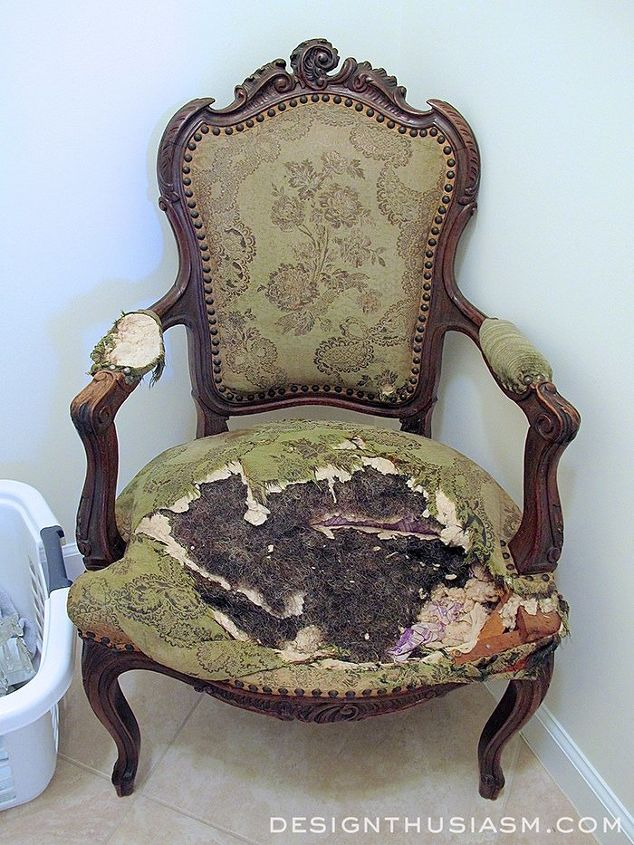 transforming a vintage french chair, painted furniture, reupholster - Transforming A Vintage French Chair Hometalk
