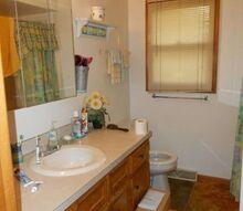 vintage farmhouse bathroom makeover, bathroom ideas, home improvement, organizing, repurposing upcycling