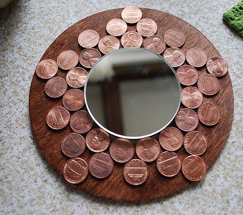 penny starburst mirror, crafts, repurposing upcycling, wall decor