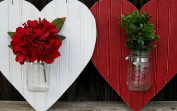 Heart Shaped Mason Jar Valentines Door Hanger #ValentinesDay