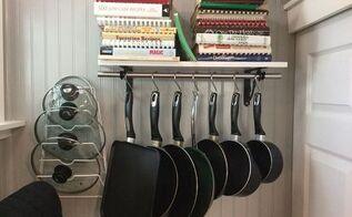 cheap easy pot rack, kitchen design, organizing, storage ideas