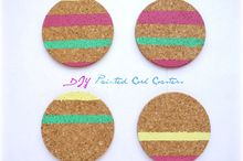 diy painted cork coasters, crafts, how to
