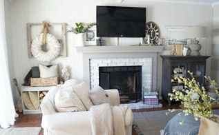 polished farmhouse family room, home decor, painting, rustic furniture