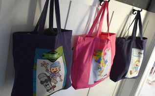 creating custom totes for my kids snow gear, crafts, reupholster