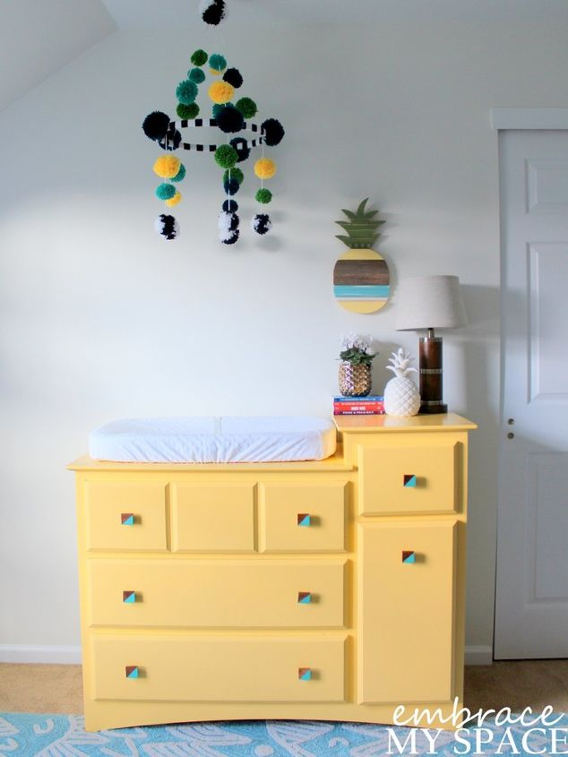 a white nursery with pops of color and pineapple, bedroom ideas, painting